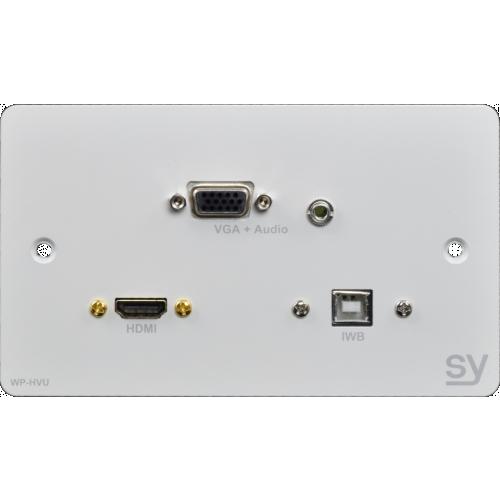 HDMI, VGA & USB B Double Gang Wall Input Plate. UK White.