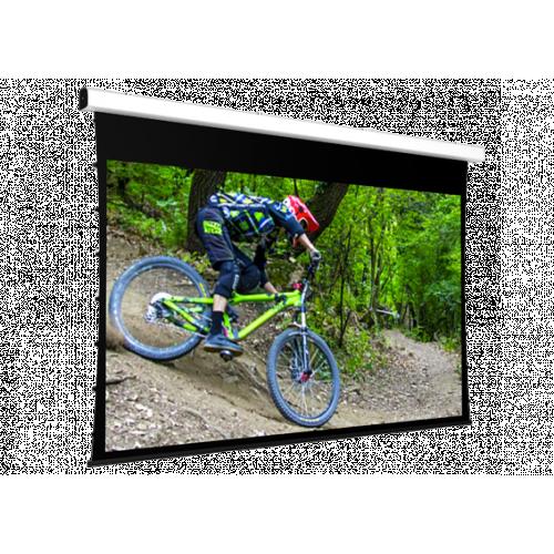 Screen International Major Tensioned VA 300cm x 169cm, 16/9 Format Tensioned Electric Screen, Matt White Surface, 30cm Black Drop and 5cm Black Side Borders - White case - 220v motor
